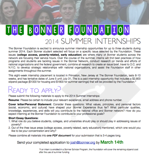 Bonner Foundation Summer Internships